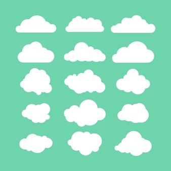 Conjunto de ilustração vetorial de estoque de ícone de nuvens planas. fundo verde.