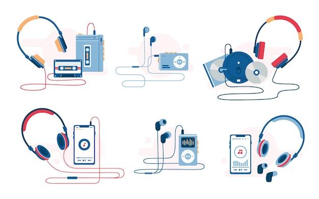 Conjunto de ilustração vetorial de evolução de reprodutor de música de cassetes de dispositivos de audição de música retrô e moderna