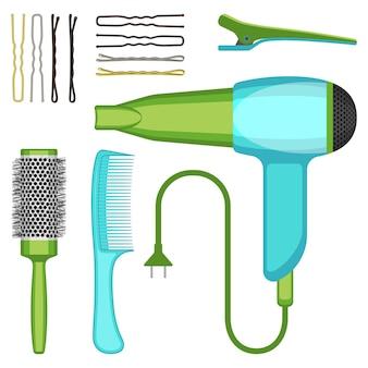 Conjunto de ilustração vetorial de ferramentas de cabeleireiro, isolada no fundo branco. ícones de escovas de cabelo profissionais, secador de cabelo e grampos de cabelo