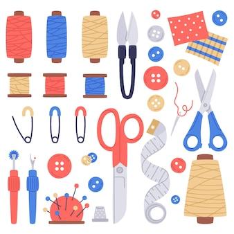 Conjunto de ilustração vetorial de ferramentas de costura e costura