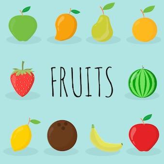 Conjunto de ilustração vetorial de frutas fofas
