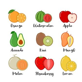 Conjunto de ilustração vetorial de frutas. ícones de frutas.