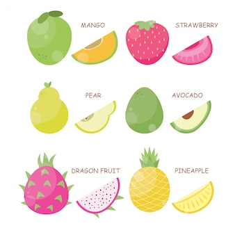 Conjunto de ilustração vetorial de frutas