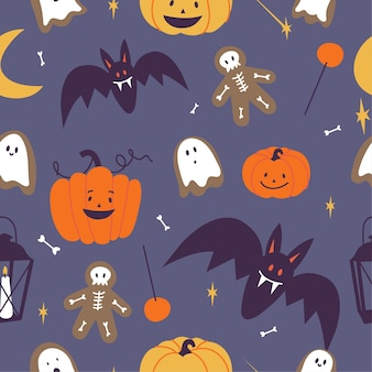 Conjunto de ilustração vetorial de ícones lineares para feliz dia das bruxas. símbolo de truque ou travessura. plano de fundo ou padrão sem emenda.