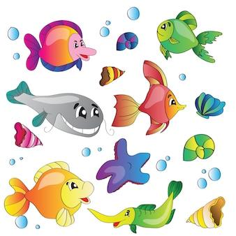 Conjunto de ilustração vetorial de imagens da vida marinha