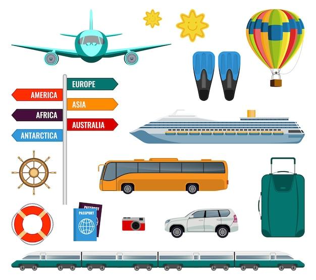 Conjunto de ilustração vetorial de itens de transporte de férias de verão isolada no branco. tipos de transporte e acessórios de viagem