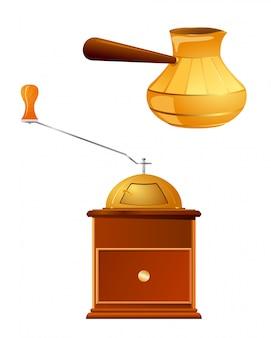 Conjunto de ilustração vetorial de itens para fazer café