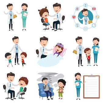 Conjunto de ilustração vetorial de médicos e de saúde