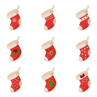 Conjunto de ilustração vetorial de meias de natal em fundo branco
