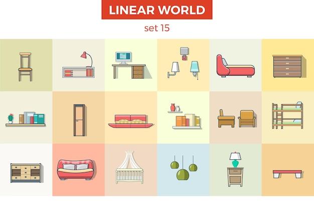 Conjunto de ilustração vetorial de móveis de sala de estar de criança plana linear conceito de interior de casa