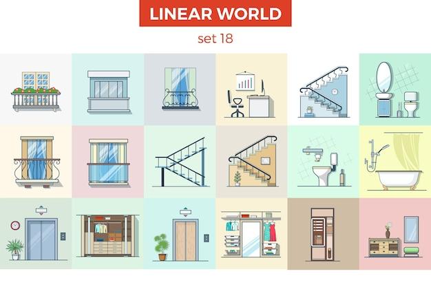 Conjunto de ilustração vetorial de móveis planos lineares. conceito de interior para casa
