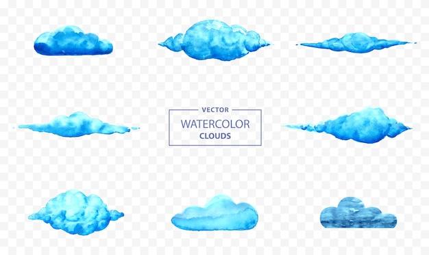 Conjunto de ilustração vetorial de nuvem em aquarela com fundo transparente pintado à mão com nuvens abstratas