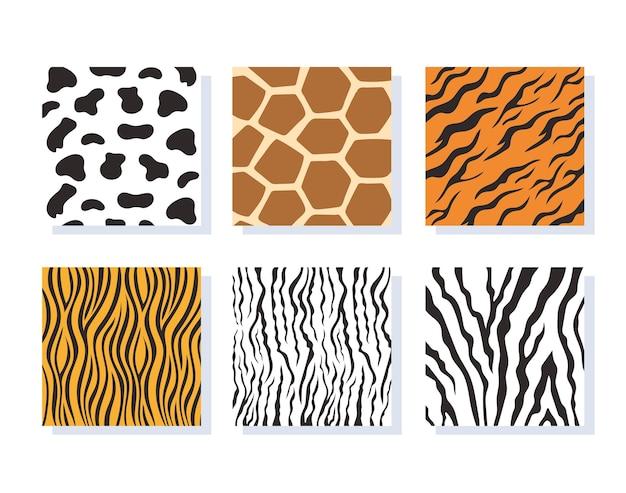 Conjunto de ilustração vetorial de padrões sem costura listrados de pele de animal de selva