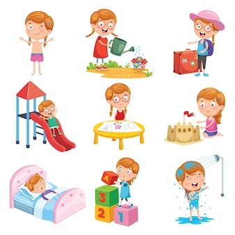 Conjunto de ilustração vetorial de pequenas rotinas diárias de menina