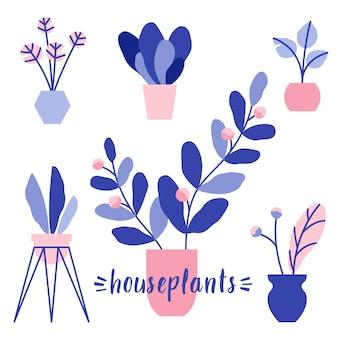 Conjunto de ilustração vetorial de plantas de casa. flores em vasos com folhas e flores. plantas domésticas decorativas.