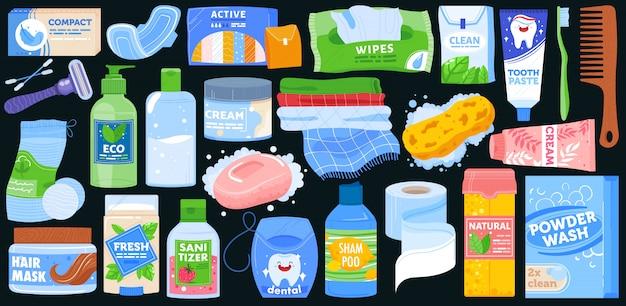 Conjunto de ilustração vetorial de produtos de banho de higiene.
