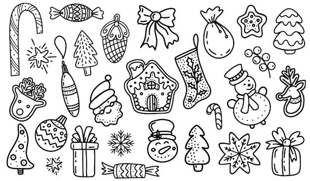 Conjunto de ilustração vetorial de rabiscos de natal