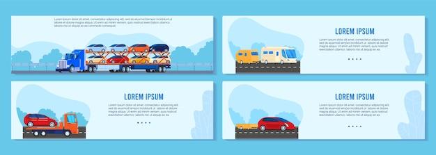 Conjunto de ilustração vetorial de reboque de caminhão de carro, coleção de banner de transporte plano auto dos desenhos animados com van de transporte diferente