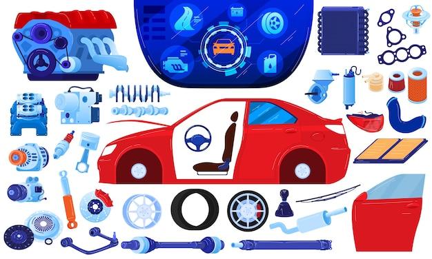Conjunto de ilustração vetorial de reparo de peça automotiva sobressalente, carro a motor com motor plano de desenho animado, engrenagem de metal para automóvel