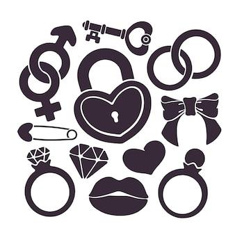 Conjunto de ilustração vetorial de silhuetas de noivado cerimonial e símbolos de casamento