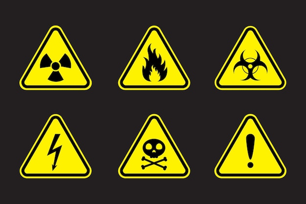 Conjunto de ilustração vetorial de sinais de alerta