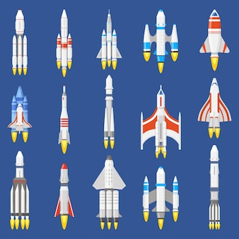 Conjunto de ilustração vetorial de tecnologia de nave espacial
