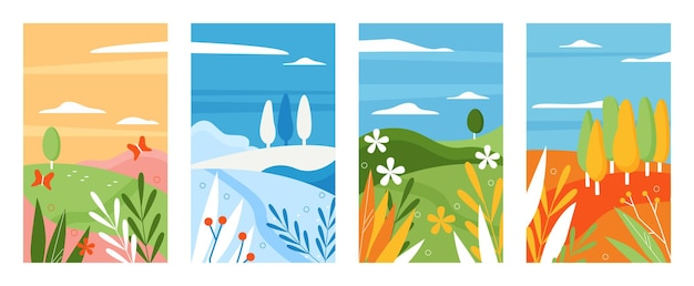 Conjunto de ilustração vetorial de temporada de natureza minimalista. coleção de paisagem natural abstrata, verão, inverno, primavera, outono