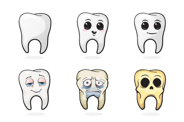Conjunto de ilustração vetorial dentes humanos dente feliz, dente triste, dente doente e crânio de dente