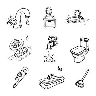 Conjunto de ilustração vetorial desenhada de mão de sinal e símbolo de encanamento elementos doodles. isolado em um fundo branco.