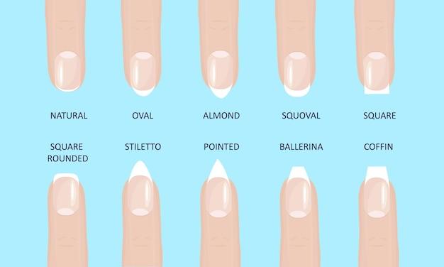 Conjunto de ilustração vetorial estilo simples manicure moda mais popular molda