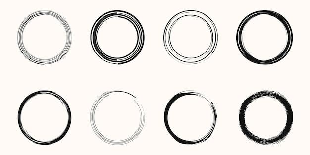 Conjunto de ilustração vetorial grunge black circle brush stroke
