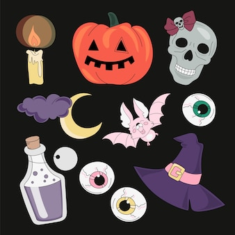 Conjunto de ilustração vetorial halloween acessórios