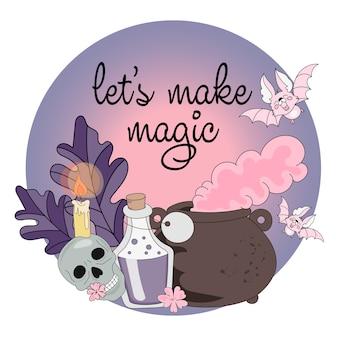 Conjunto de ilustração vetorial halloween deixe fazer mágica