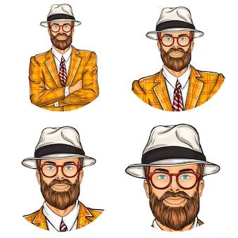 Conjunto de ilustração vetorial, ícones dos avatares redondos do pop art dos homens