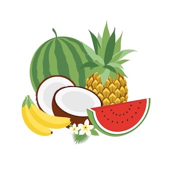 Conjunto de ilustração vetorial ícones frutas tropicais com folhas e flores. conjunto de ilustrações vetoriais de moda isoladas no branco.