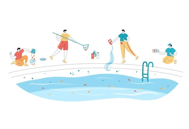 Conjunto de ilustração vetorial isolada de homens limpando uma piscina com ferramentas
