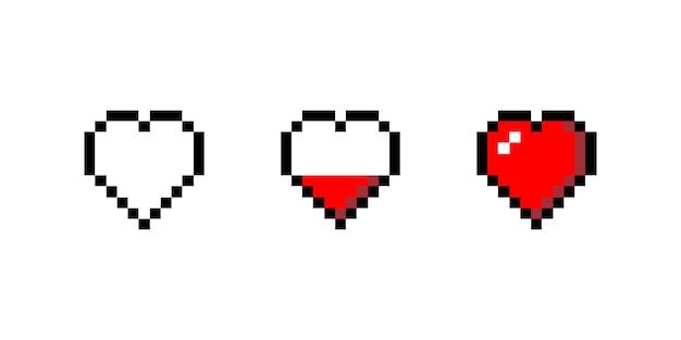 Conjunto de ilustração vetorial isolado de carregamento de coração pixel
