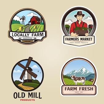 Conjunto de ilustração vetorial logotipo de fazenda