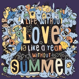 Conjunto de ilustração vetorial mão desenhada de elementos de verão.
