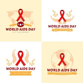 Conjunto de ilustração vetorial modelo de logotipo do dia mundial da aids em fundo amarelo claro