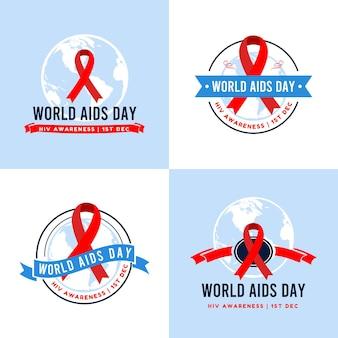 Conjunto de ilustração vetorial modelo de logotipo do dia mundial da aids em fundo azul claro