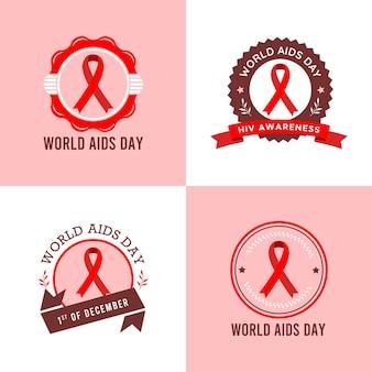 Conjunto de ilustração vetorial modelo de logotipo do dia mundial da aids em fundo rosa