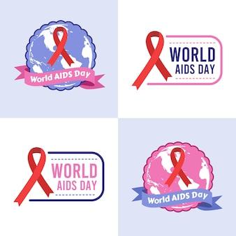 Conjunto de ilustração vetorial modelo de logotipo do dia mundial da aids em fundo roxo