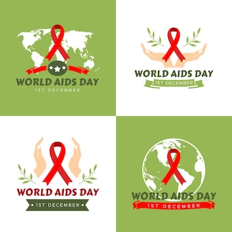 Conjunto de ilustração vetorial modelo de logotipo do dia mundial da aids em fundo verde