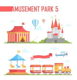 Conjunto de ilustração vetorial moderna de elementos de parque de diversões