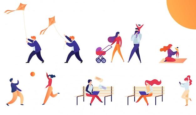 Conjunto de ilustração vetorial plana de fim de semana ao ar livre.