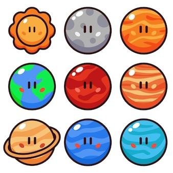 Conjunto de ilustração vetorial planeta desenho animado