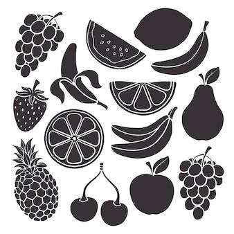 Conjunto de ilustração vetorial silhuetas de comida vegetariana saudável