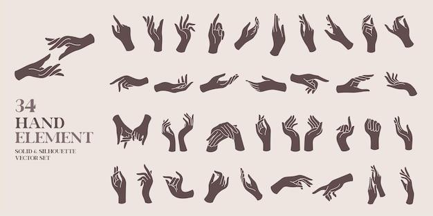 Conjunto de ilustração vetorial sólida e silhueta elemento mão humana estilo vintage e boêmio