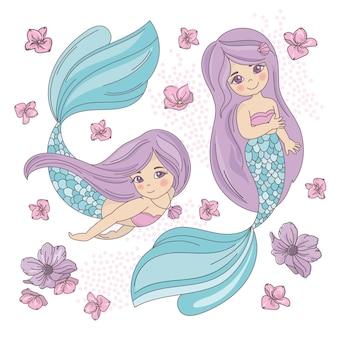 Conjunto de ilustração vetorial subaquática do mar sereia roxa